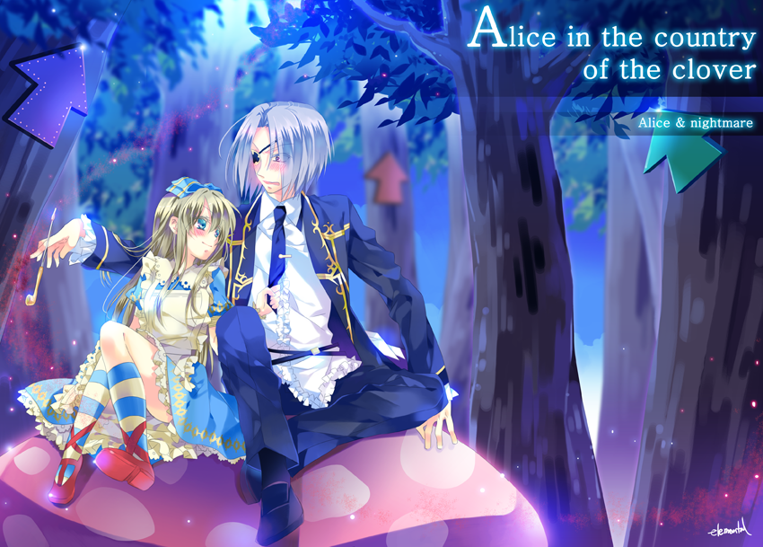 1girl alice_liddell apron blonde_hair blue_eyes blush bow dress elemental eyepatch grey_hair hair_bow hair_ornament heart_no_kuni_no_alice kiseru long_hair long_sleeves mushroom necktie nightmare_gottschalk nightmare_gottschalks pipe sitting socks striped striped_socks tree wristband