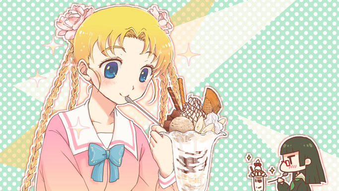 black_hair blonde_hair blue_eyes blush bow chiaki_kurihara eating food gruier_serenity ice_cream long_hair miniskirt_pirates multiple_girls nagashino_torashige parfait quad_braids school_uniform sundae