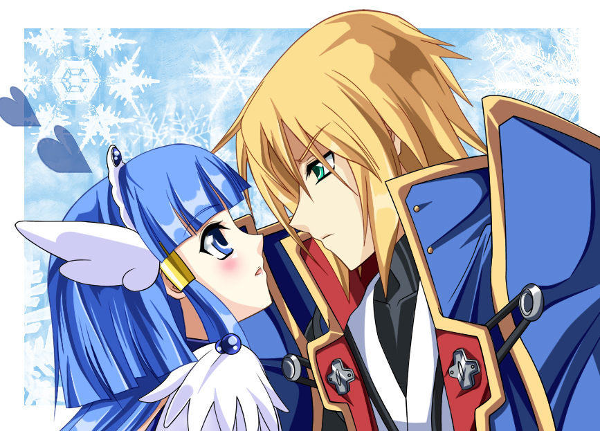 1girl aoki_reika aqua_eyes bad_id blazblue blonde_hair blue_background blue_eyes blue_hair blush coat couple crossover cure_beauty eien_no_kurayami eye_contact hair_tubes head_wings heart jin_kisaragi kisaragi_jin long_hair looking_at_another military military_uniform payot power_connection precure smile smile_precure! tiara uniform