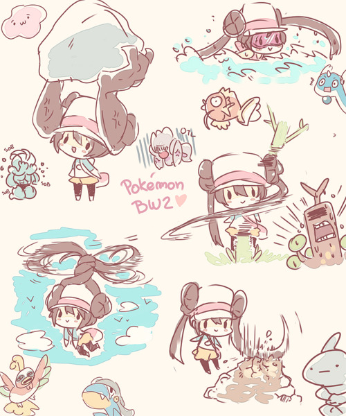 :> bagon brown_hair chibi conkeldurr cutting ditto double_bun dragonair female_protagonist_(pokemon_bw2) flying helicopter_hair ho-oh holding lifting long_hair machamp machoke magikarp mei_(pokemon) onix otl pantyhose pokemon pokemon_(game) pokemon_bw2 prehensile_hair role_reversal shiuka sudowoodo swimming title_drop