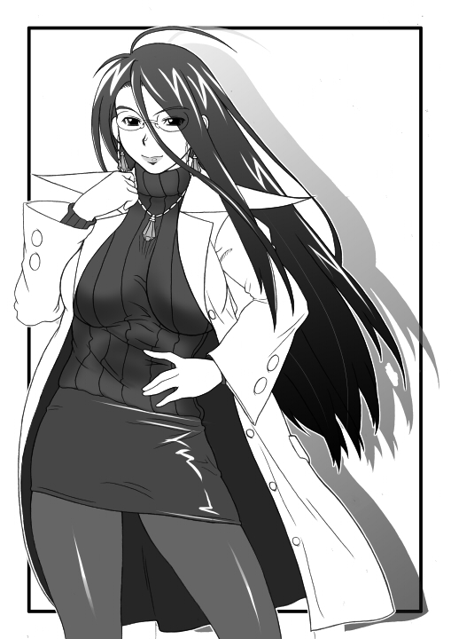 glasses jewelry justice_gakuen labcoat long_hair minazuki_kyouko monochrome necklace pantyhose power_play ribbed_sweater rival_schools sweater