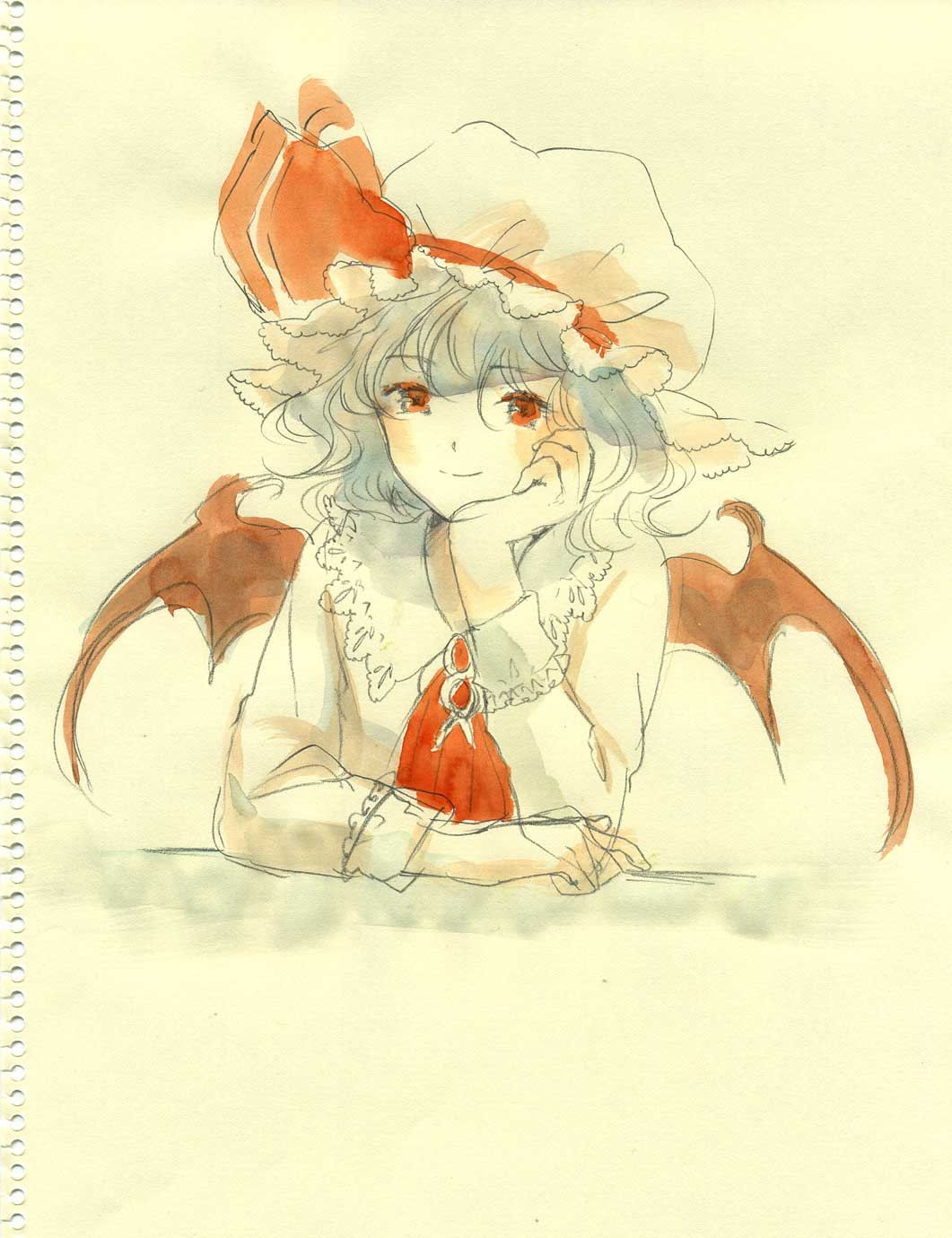 chin_rest face graphite_(medium) hands hat highres portrait remilia_scarlet short_hair sketch smile solo sugi touhou traditional_media watercolor_(medium)