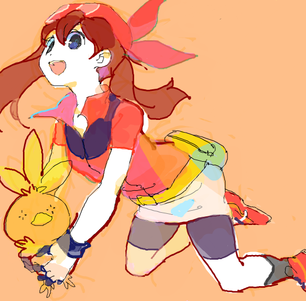 backpack bag bandana bandanna brown_hair doodle drawr gloves haruka_(pokemon) holding open_mouth orange_background pokemon pokemon_(game) pokemon_rse randoseru shouji_ni_nanshi torchic