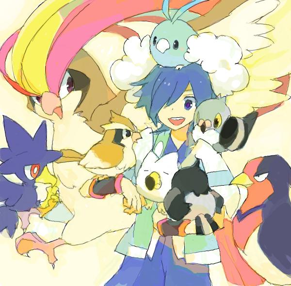 1boy blue_hair drawr gym_leader hayato_(pokemon) male murkrow pidgeot pidgey pidove pokemon pokemon_(creature) pokemon_(game) pokemon_hgss shouji_ni_nanshi starly swablu swellow wingull