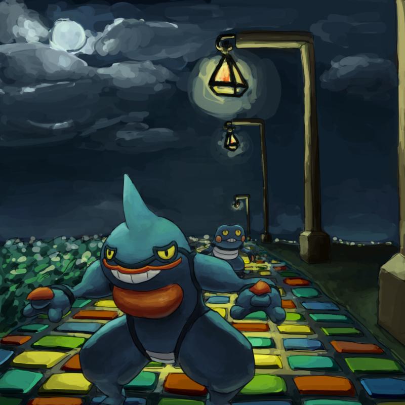 croagunk dark grass guodon lamp moon night no_humans pokemon pokemon_(creature) smile toxicroak