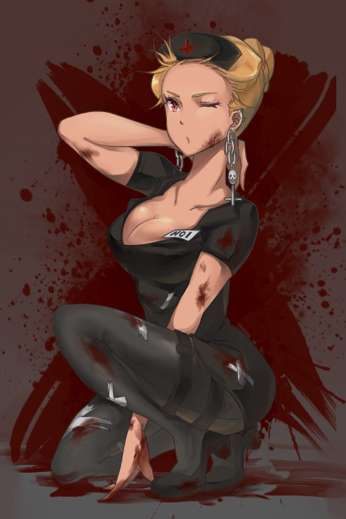 ;o black_legwear blonde_hair blood blood_on_face blood_stain breasts brunette_(realsyaoran) cleavage dorohedoro earrings hair_up hat jewelry noi_(dorohedoro) nurse nurse_cap one_knee pantyhose red_eyes solo wink