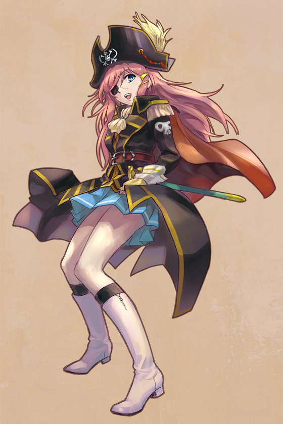 blue_eyes boots cravat epaulettes eyepatch hair_ornament hairclip harlock harlock_(cosplay) hat kaineri katou_marika long_hair miniskirt_pirates open_mouth pink_hair pirate pirate_hat scar school_uniform skirt skull_and_crossbones smile solo uchuu_kaizoku_captain_harlock