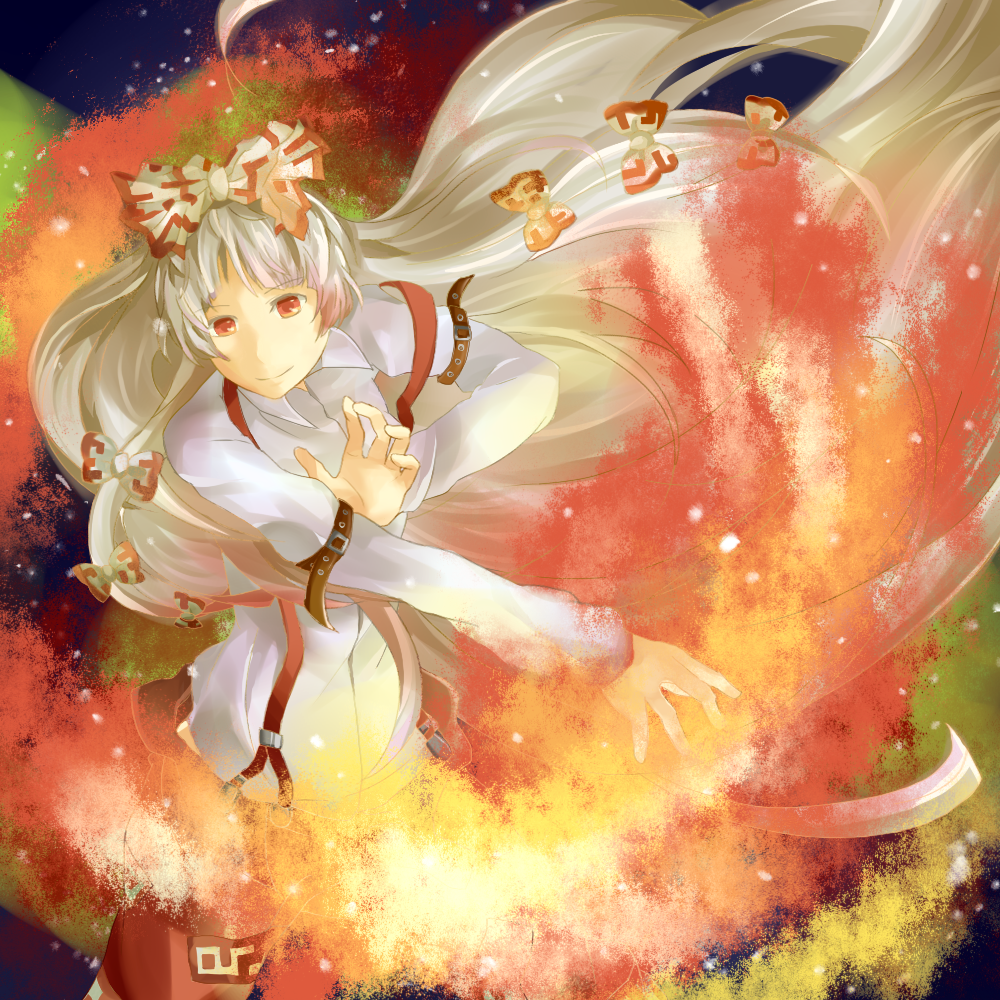 bad_id belt bow bronne fire fujiwara_no_mokou hair_bow long_hair red_eyes silver_hair solo suspenders touhou