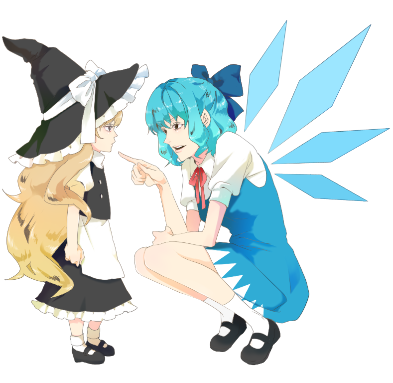 blonde_hair blue_eyes blue_hair bow cirno hair_bow hat kirisame_marisa long_hair morino multiple_girls role_reversal short_hair touhou wings witch_hat young
