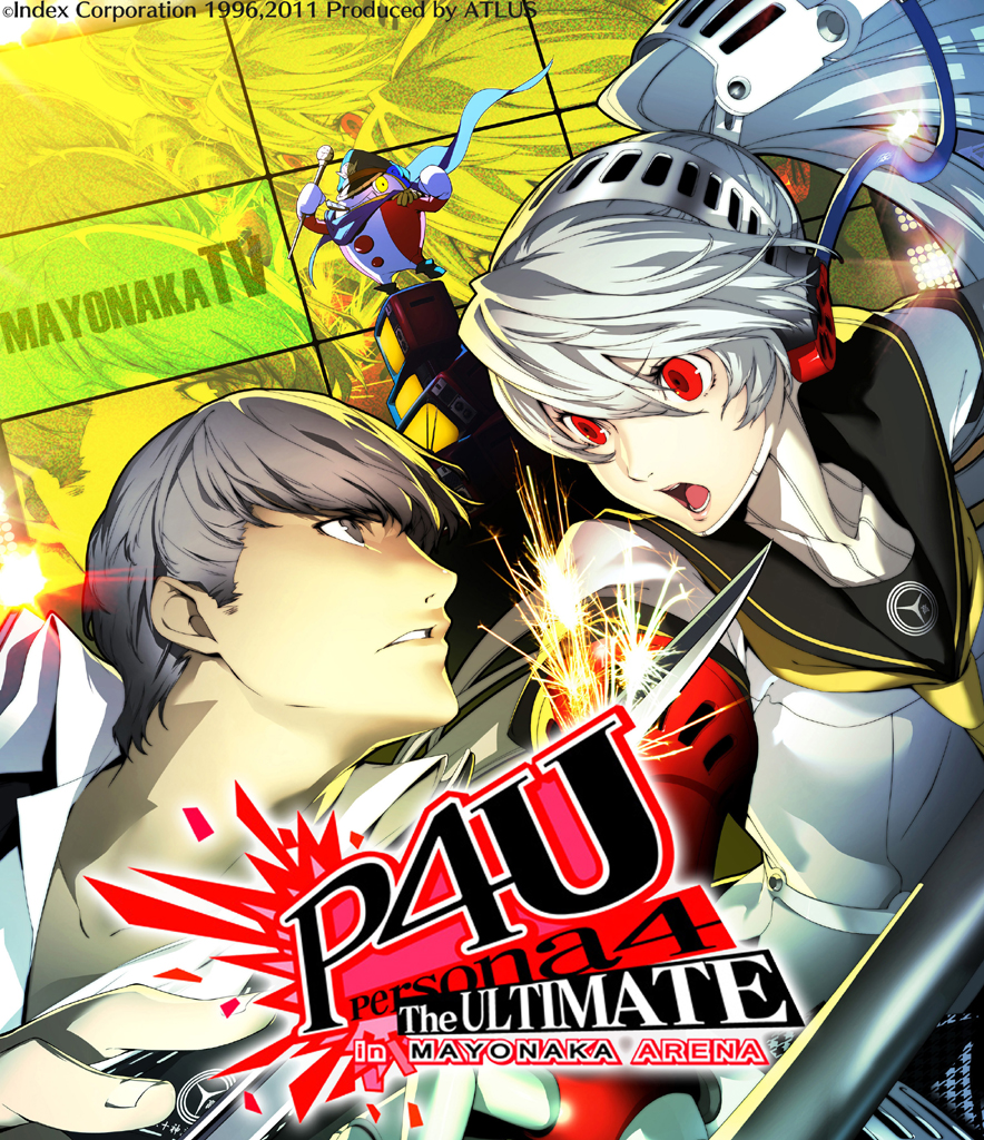 1girl :o android arc_system_works battle grey_eyes grey_hair hat headphones katana kuma_(persona_4) labrys narukami_yuu official_art peaked_cap persona persona_4 persona_4:_the_ultimate_in_mayonaka_arena popped_collar recursion red_eyes school_uniform serafuku soejima_shigenori sparks sword television weapon white_hair yellow_eyes zoom_layer