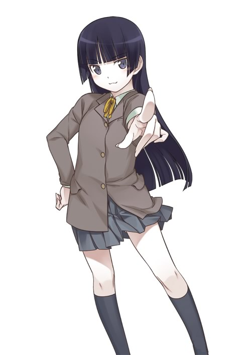 :3 black_hair blue_eyes gokou_ruri hime_cut kneehighs long_hair mole official_art ore_no_imouto_ga_konna_ni_kawaii_wake_ga_nai ore_no_kouhai_ga_konna_ni_kawaii_wake_ga_nai pointing ribbon school_uniform simple_background skirt smile solo white_background
