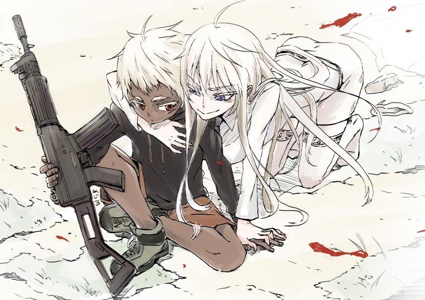 1girl blood blue_eyes dark_skin gun hug hug_from_behind johnathan_mar jormungand kneehighs koko_hekmatyar long_hair long_sleeves mejiro06 pale_skin red_eyes rifle weapon white_hair