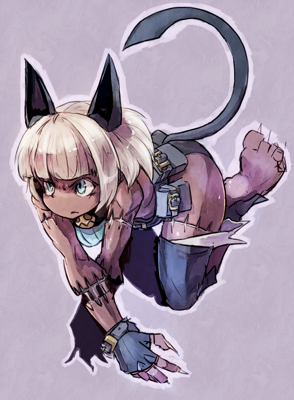 animal_ears bangs bare_shoulders barefoot bent_over blue_eyes blunt_bangs breasts cat_ears cat_tail choker citolo claws collar dark_skin fingerless_gloves fingernails frown gloves jumping long_fingernails nadia_fortune pouches purple_background scar serious short_hair skullgirls sleeveless solo tail toned white_hair