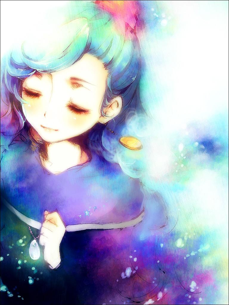 blue_hair chrono_trigger closed_eyes earrings eyes_closed jewelry kurai_(artist) kurai_(campanella) pendant schala_zeal solo