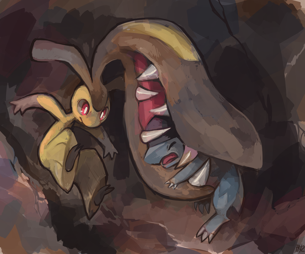 battle biting brown_background claws closed_eyes cranidos extra_mouth jumping mawile no_humans open_mouth outstretched_arms pokemon pokemon_(creature) purplekecleon red_eyes spread_arms teeth
