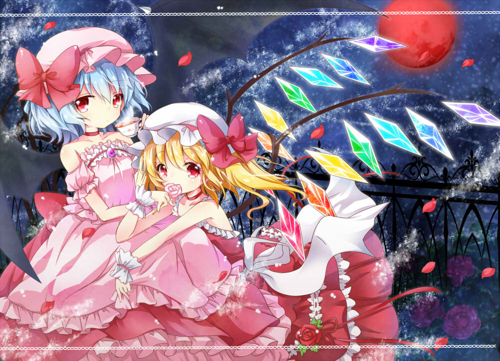 alternate_costume bare_shoulders bat_wings blonde_hair blue_hair bow candy choker cup dress eating fence flandre_scarlet flower full_moon hat hat_bow lollipop looking_at_viewer mi_hitsuji moon multiple_girls night petals pink_dress red_dress red_eyes red_moon red_rose remilia_scarlet ribbon rose short_hair short_sleeves siblings side_ponytail sisters sky sleeveless sleeveless_dress star_(sky) teacup touhou wings wrist_cuffs wrist_ribbon