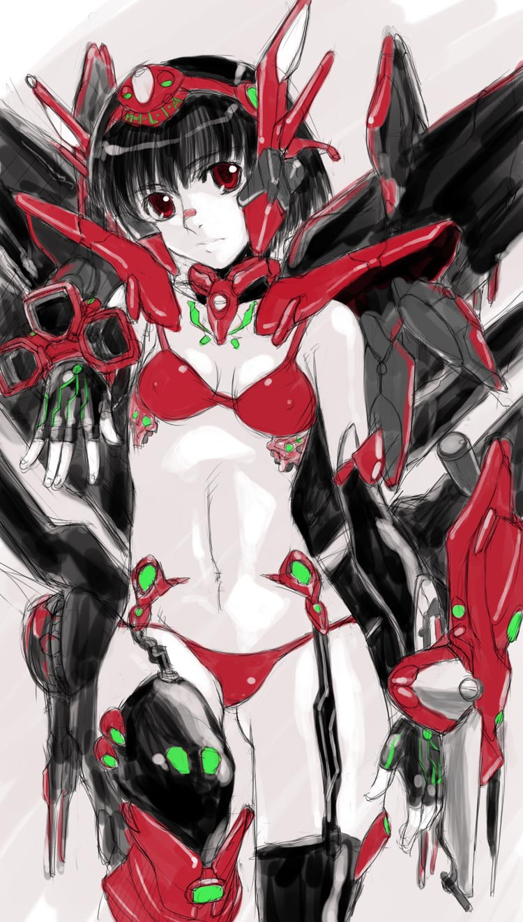 1girl armor bikini bikini_armor black_hair guardic_gaiden highres mecha_musume red_eyes shinama sketch swimsuit system_d.p. the_guardian_legend
