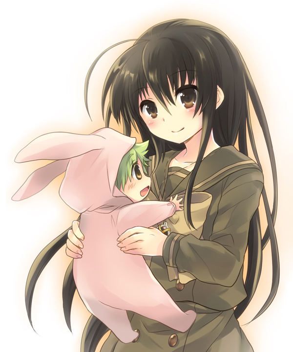 1girl animal_costume black_hair brown_eyes bunny_costume justus long_hair school_uniform serafuku shakugan_no_shana shana tachitsu_teto