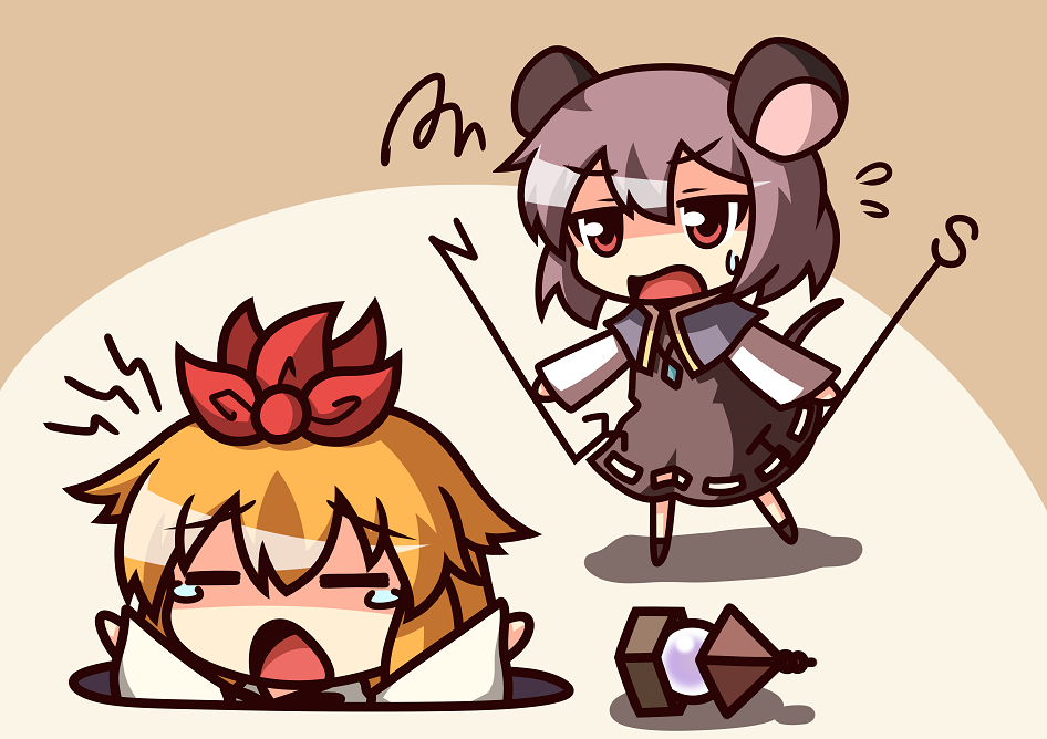 animal_ears blonde_hair capelet chibi dowsing_rod dress drop_trap gem grey_dress grey_hair hair_ornament jeweled_pagoda jewelry kukku mouse_ears mouse_tail multiple_girls nazrin necklace open_mouth outstretched_arms pitfall red_eyes short_hair squiggle tail tears toramaru_shou touhou