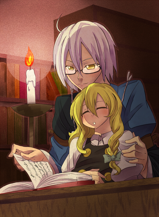 1boy 1girl ahoge blonde_hair book bookshelf bow braid buki56 candle closed_eyes eyes_closed fire glasses hair_bow kirisame_marisa long_hair long_sleeves morichika_rinnosuke short_hair silver_hair single_braid sleeping smile touhou witch yellow_eyes