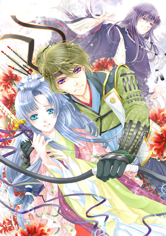 2boys aqua_eyes armor asa_no_ha_(pattern) blue_hair bow bow_(weapon) clenched_hand dutch_angle floral_print flower green_hair hair_bow hair_ribbon hand_on_shoulder headband japanese_clothes jewelry kariginu kataginu katana kimono kote light_particles long_hair multilayer_kimono multiple_boys necklace nervous open_hand original outstretched_hand parted_lips purple_eyes purple_hair red_eyes ribbon sayagata serious smirk spider_lily sword tenma_ako violet_eyes weapon