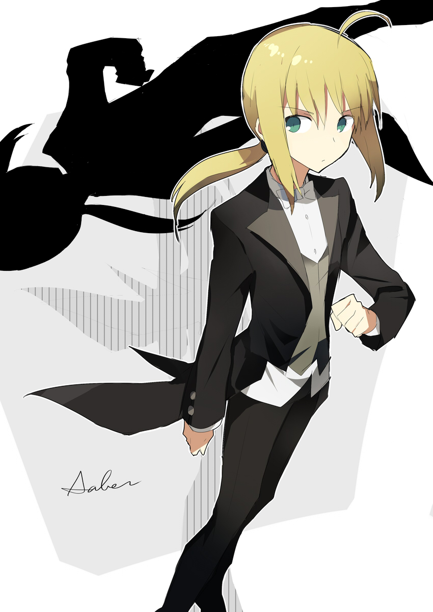 bad_id blonde_hair blue_eyes bowtie character_name fate/zero fate_(series) formal green_eyes highres long_hair long_sleeves megata pant_suit ponytail reverse_trap saber shadow solo suit tuxedo