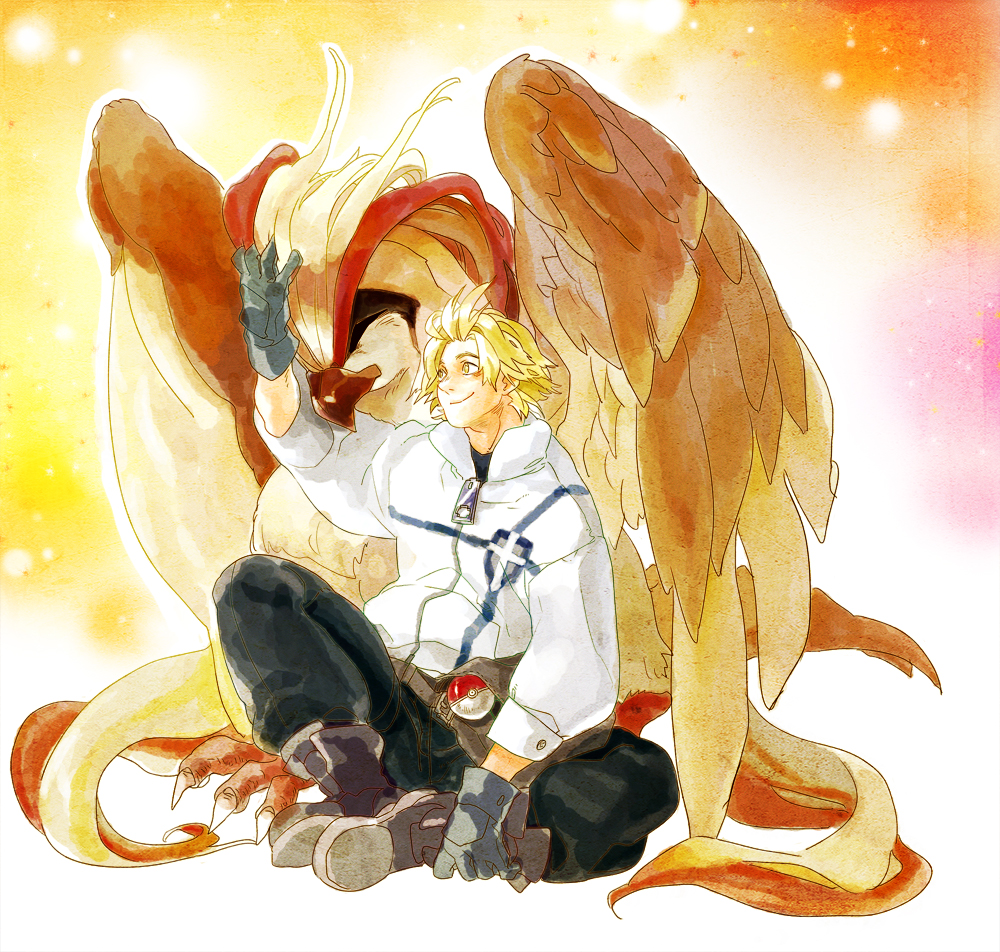 bag beak bird blonde_hair crossover eukane eyeshield_21 gloves male pat pidgeot poke_ball pokemon sakuraba_haruto sitting smile wings yellow_eyes zipper