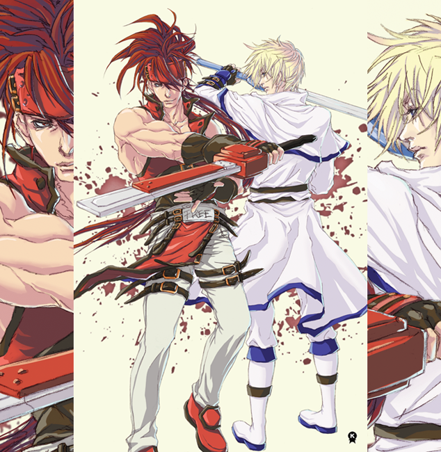 2boys belt blonde_hair blue_eyes brown_hair fingerless_gloves fundoshi_(tofupoid) gloves guilty_gear headband inset ky_kiske multiple_boys red_eyes sol_badguy sword tabard weapon