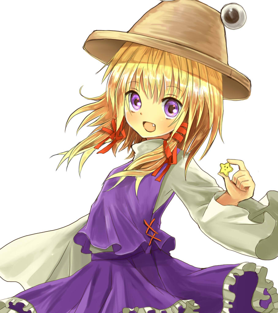 :> arm_up blonde_hair bust fang frills hair_ribbon hat high_collar long_sleeves looking_at_viewer moriya_suwako okemai open_mouth purple_eyes ribbon short_hair simple_background skirt solo star touhou twintails vest violet_eyes white_background wide_sleeves