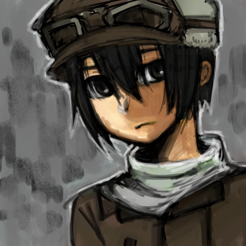 black_hair coat expressionless fur_hat goggles goggles_on_hat hat kino kino_no_tabi lowres ptn_(fox_fox) short_hair sketch