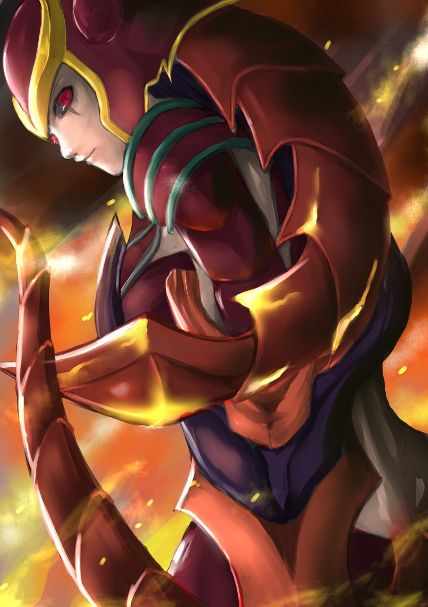 armor braid demoncat fire helmet league_of_legends long_hair purple_hair red_eyes shyvana single_braid solo tail