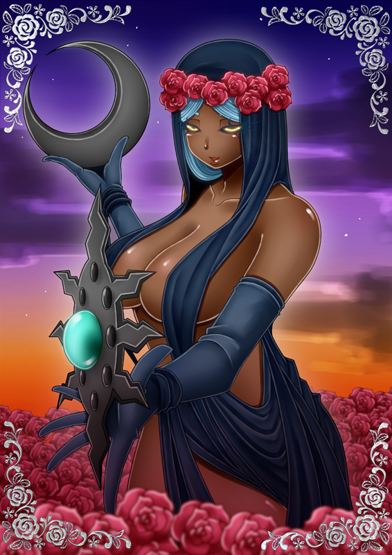 azura breasts crescent dark_skin elbow_gloves flower gloves huge_breasts large_breasts no_bra outstretched_hand ranchuu red_rose rose skyrim smile the_elder_scrolls the_elder_scrolls_v:_skyrim weapon yellow_eyes