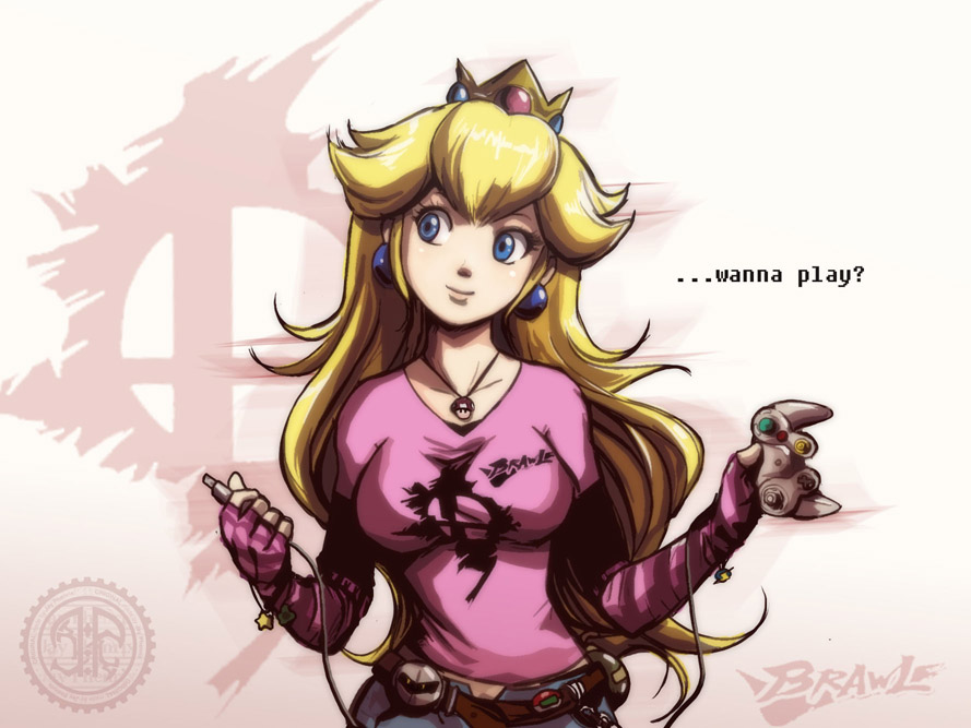 1girl alternate_costume belt blonde_hair blue_eyes bracelet cable casual controller cord crown detached_sleeves earrings english female game_controller gamecube jay_phenrix jewelry kirby_(series) long_hair meta_knight mushroom nintendo open_fly pendant plug princess princess_peach smile solo star super_mario_bros. super_mushroom super_smash_bros. unzipped v-neck watermark