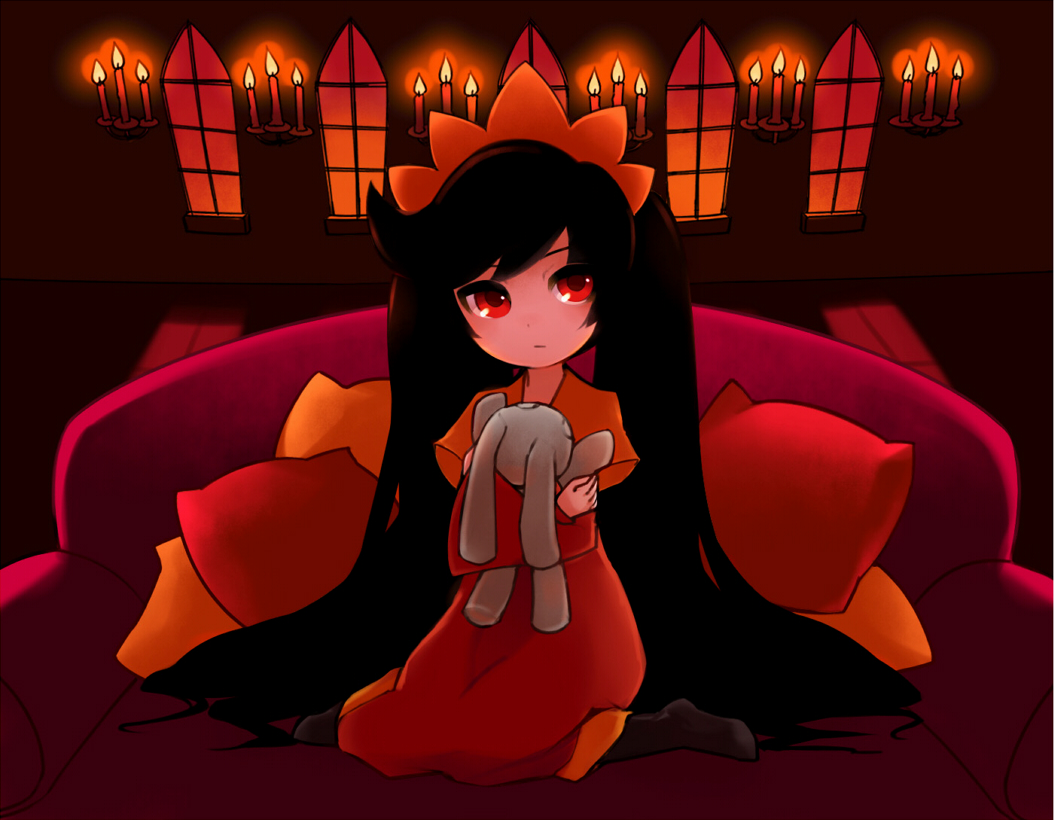 ashley black_hair candle candlelight child couch doll dress long_hair nintendo pillow rabbit rani red_eyes sitting solo stuffed_animal stuffed_toy twintails very_long_hair warioware wariza window witch