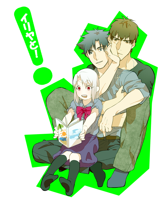 2boys age_difference black_hair brown_hair cross emiya_kiritsugu family fate/zero fate_(series) father_and_daughter illyasviel_von_einzbern kimidake kotomine_kirei long_hair multiple_boys parody reading red_eyes white_hair yotsubato!