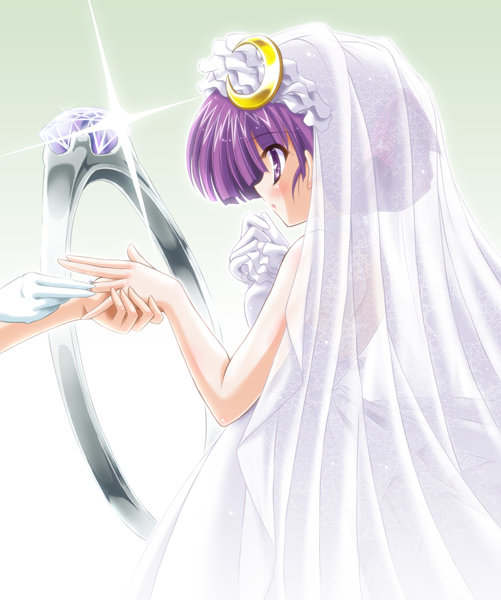 bridal_veil crescent dress hair_up jewelry patchouli_knowledge profile purple_eyes purple_hair ring short_hair solo touhou veil violet_eyes wedding_dress wedding_ring yamu_(reverse_noise)