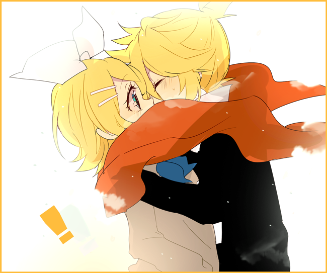 1boy 1girl bad_id blonde_hair brother_and_sister closed_eyes eyes_closed kagamine_len kagamine_rin kiss scarf shared_scarf shichi short_hair siblings simple_background twins vocaloid white_background