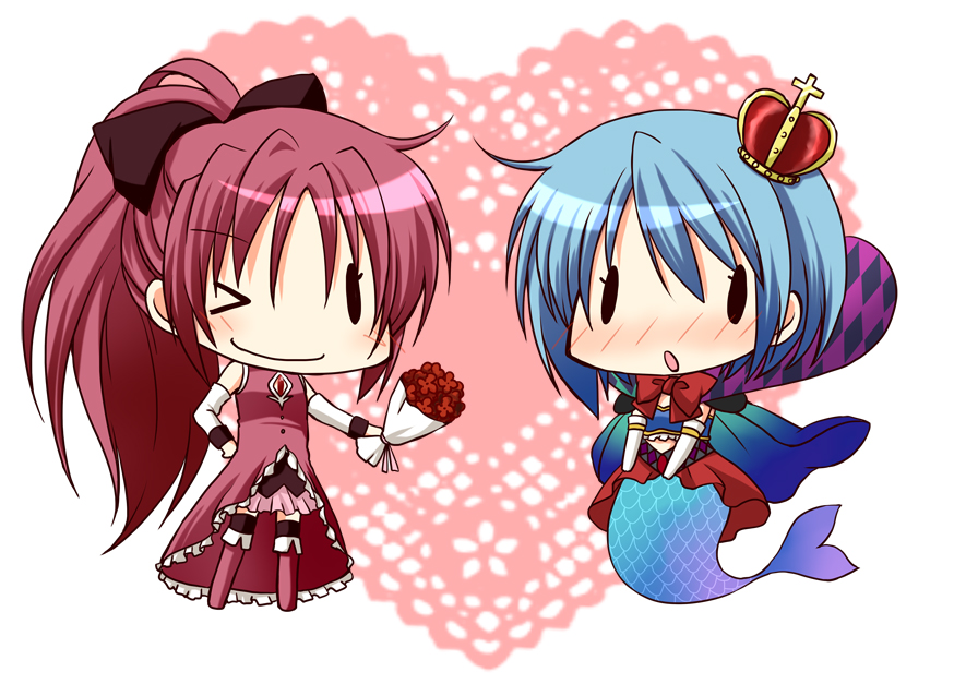 blue_hair blush bouquet cape chibi crown flower long_hair magical_girl mahou_shoujo_madoka_magica mermaid miki_sayaka monster_girl multiple_girls oktavia_von_seckendorff otoneha ponytail red_hair redhead sakura_kyouko short_hair spoilers wide_ponytail wink