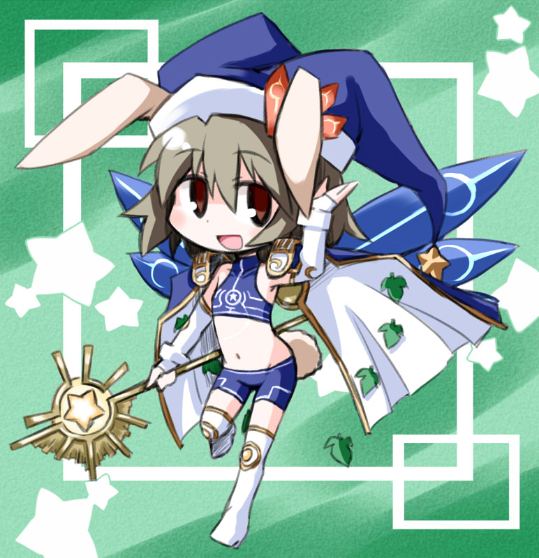 animal_ears battle_spirits bunny_ears chibi crop_top hat kugelschreiber leaf midriff navel open_mouth rabbit_ears short_hair smile solo