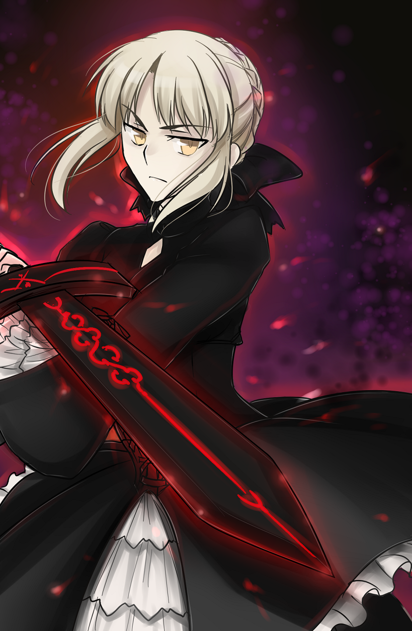 blonde_hair dark_excalibur dress fate/hollow_ataraxia fate/stay_night fate/unlimited_codes fate_(series) glowing gothic_lolita hair_ribbon highres ladymarta lolita_fashion pale_skin ribbon saber saber_alter solo sword weapon yellow_eyes