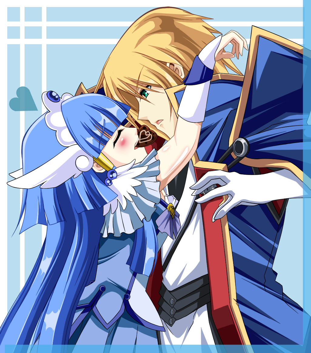 angel_wings aoki_reika aqua_eyes blazblue blonde_hair blush cape chocolate closed_eyes coat couple crossover cure_beauty dress eyes_closed frills gem gloves hair_tubes head_wings headband heart hime_cut hug japanese_clothes jewelry jin_kisaragi kisaragi_jin long_hair military military_uniform power_connection precure ribbon smile_precure! tiara uniform wings