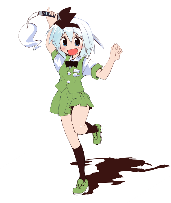 :d black_legwear blue_eyes blush hairband kneehighs konpaku_youmu nanaroku_(fortress76) open_mouth pleated_skirt short_hair silver_hair simple_background skirt skirt_set smile solo sword touhou weapon white_background