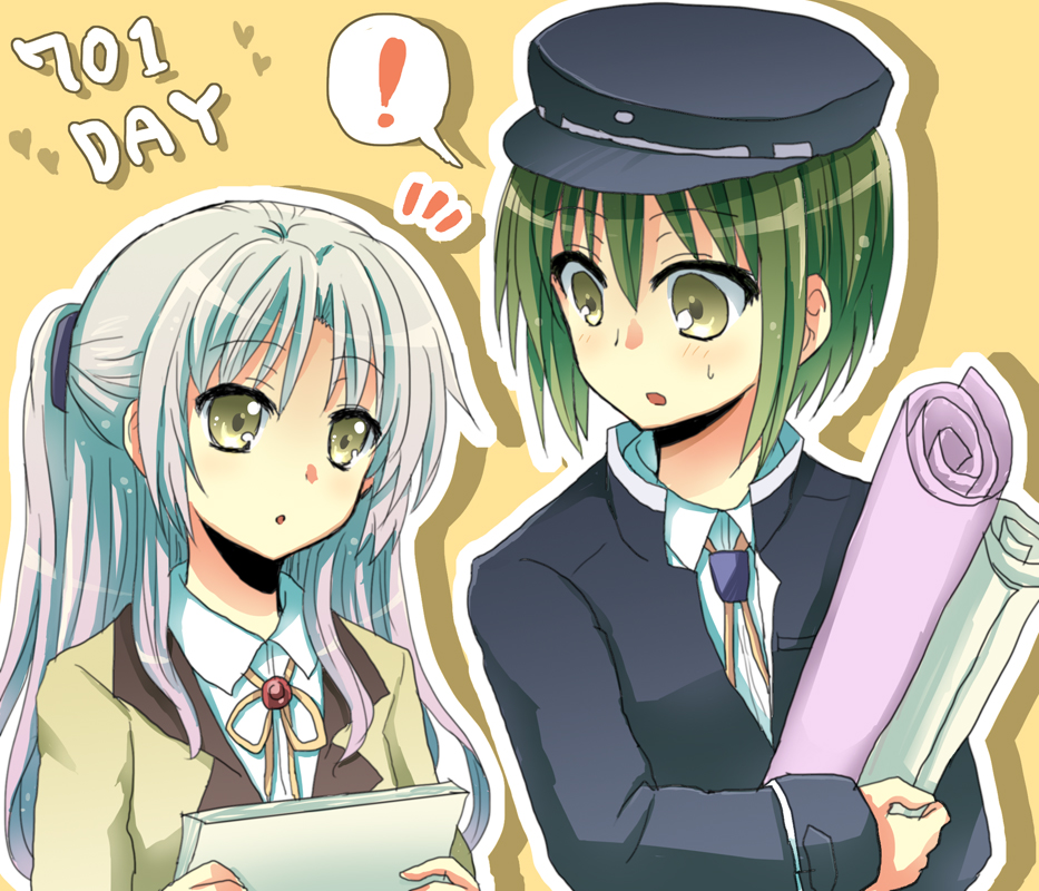 1girl angel_beats! bad_id blazer green_hair hat long_hair nananeko naoi_ayato paper_roll school_uniform short_hair silver_hair tachibana_kanade tenshi_(angel_beats!) yellow_eyes