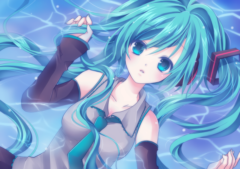 aqua_eyes aqua_hair detached_sleeves hatsune_miku long_hair necktie solo vocaloid