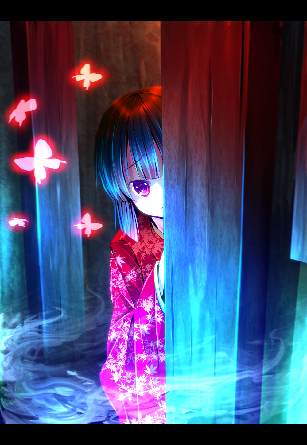 black_hair butterfly fatal_frame fatal_frame_2 fog ghost hiding highres japanese_clothes kimono letterboxed mist peeking_out purple_eyes red_eyes ryosios short_hair solo tachibana_chitose