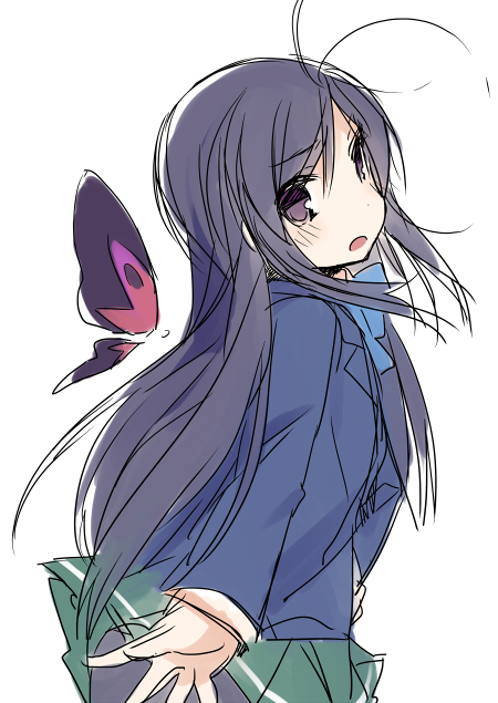 :o accel_world ahoge antenna_hair black_eyes black_hair blush bow butterfly kuroyukihime long_hair mizuki_(koko_lost) open_mouth pantyhose purple_eyes school_uniform sketch skirt solo