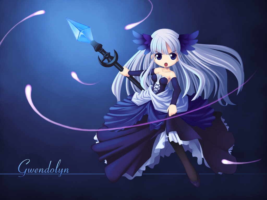 chibi dress gwendolyn long_hair odin_sphere polearm spear wallpaper weapon white_hair yuichirou
