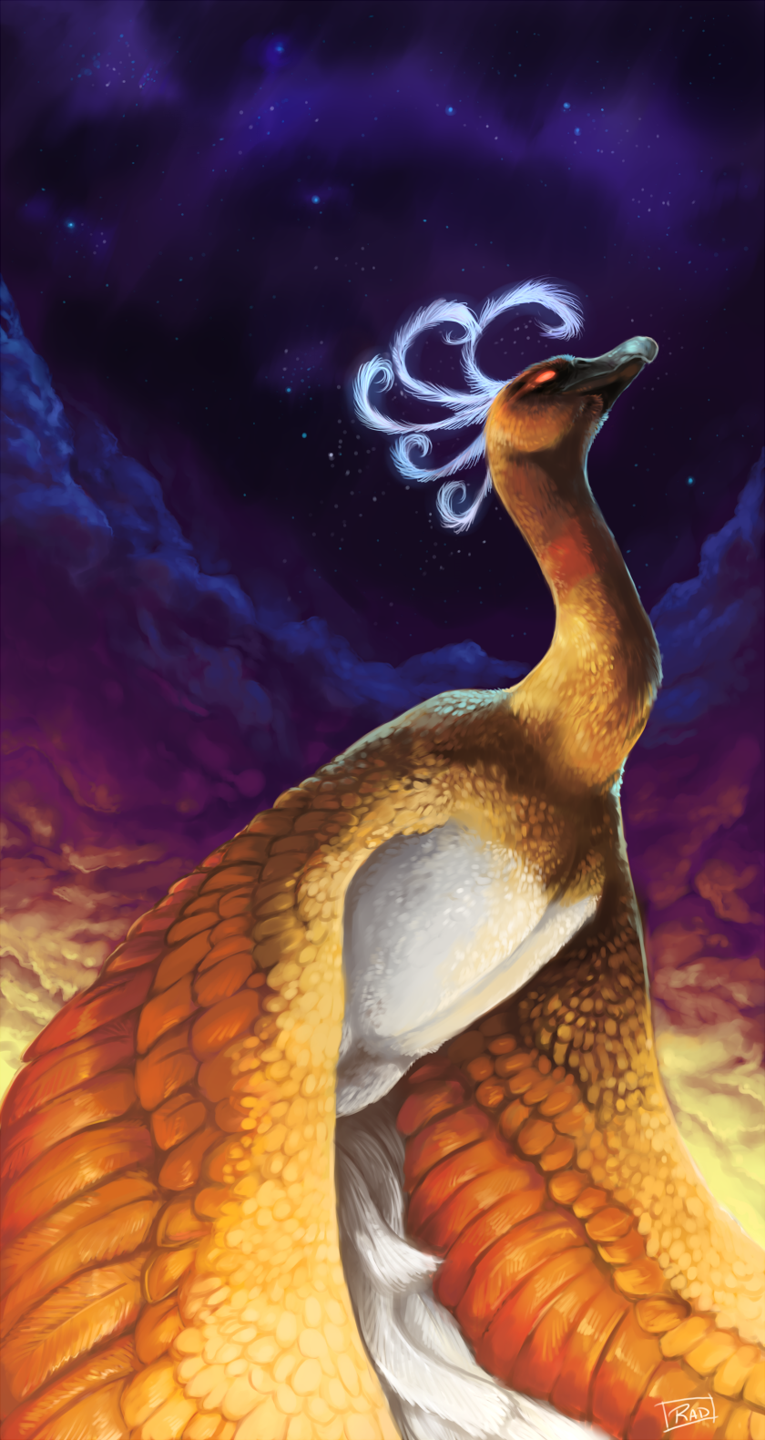 bird cloud clouds creature glowing glowing_eyes highres ho-oh looking_away looking_up night night_sky no_humans outdoors pokemon purple_sky rajewel realistic shiny_pokemon signature sky solo star_(sky) starry_sky