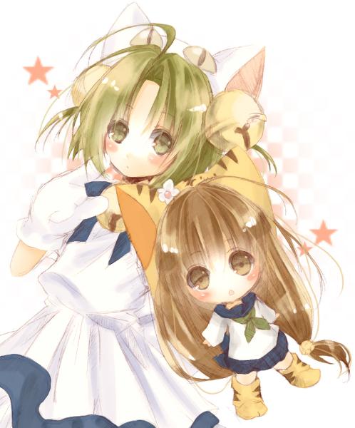 2girls animal_ears bell brown_ears brown_eyes cat_ears child dejiko di_gi_charat green_hair multiple_girls puchiko star