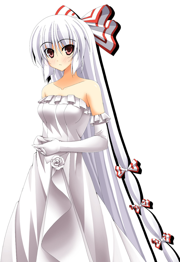 bare_shoulders blush bow dress elbow_gloves fujiwara_no_mokou gloves hair_bow long_hair rapattu red_eyes simple_background solo touhou very_long_hair wedding_dress white_background white_gloves white_hair
